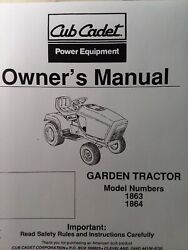 Cub Cadet Corp Ccc Mtd 1863 1864 Garden Lawn Tractor Owners Manual 18 H.p Kohler