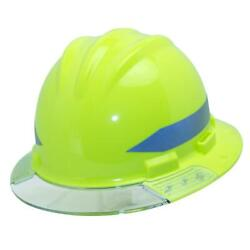 Hi-vis Full Brim Above View Hard Hat With Clear Brim Visor 4-point Ratchet And