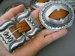 Heavy-gauge Native American Navajo 1st Phase Sterling Silver Concho Belt 4 X 3