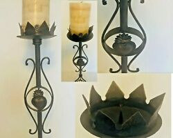Wrought Iron Stand Pillar Candle Holder 25 Tall Crown Of Hearts Antique Vintage