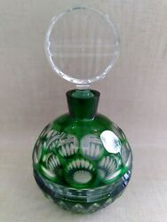 Cut Green To Clear Crystal Perfume Bottle Clear Stopper Empty 6 H