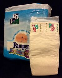 Vintage Pampers Baby-dry Plus Diaper Plastic Backed Sz Maxi Plus For Boys