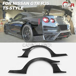 Rear Bumper Fender Flares For Nissan R35 Gtr 17'ver Ts Style Carbon Glossy