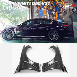For Infiniti Q50 V37 Eau Style Carbon Glossy Front Vented Fender Exterior Kit