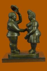 Handcrafted Collectible Chubby Male And Female Bronze Sculpture Figurine Artwork