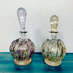 Ion Tamaian Glass Perfume Bottles Hand Blown Vanity Signed Staging Vtg Lot Of 2