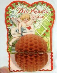 1920s Valentines Day Die Cut Card Fold Out Tissue My Heart's Choice Cupid 3d
