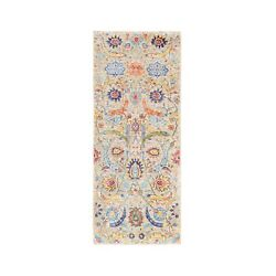 2'6x6' Taupe Hand Knotted Silk With Textured Wool Sickle Leaf Design Rug R62301