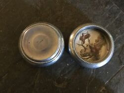 Vintage Antique Collectible Pair Of Silver Glass Duck Cigar Ashtray/ Coasters