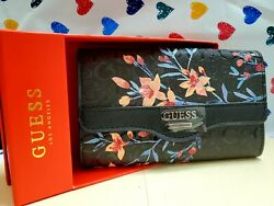 New in Box GUESS BLACK floral Clutch trifold ladies#x27; clutch PHONE wallet $29.75