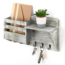 Wall Mount Mail And Key Holder Organizer With 6 Key Hooks Shelf Mail Sorter Wooden