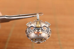 China Solid 925 Silver Kirin Fortune Statue Small Bell Pendant Necklace Netsuke