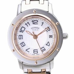Hermes Pink Gold Plated X Stainless Steel Clipper Nacre Womenand039s Watch /37645
