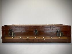 Vintage Leather Steamer Trunk. Antique Travel Trunk Luggage. Coffee Table