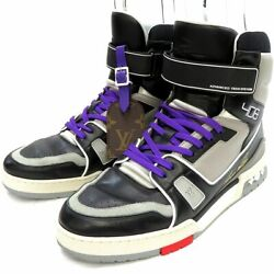 Pre-owned Authentic Louis Vuitton Menand039s Sneakers Leather 6 1/2 Black/purple/gray