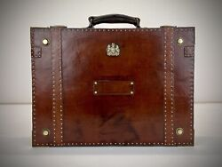 Vintage Leather Dispatch Case. Antique Military Luggage Briefcase