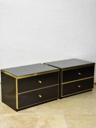 Pair Of Vintage Italian Black Lacquer Nightstands With Two Drawers - Renato Zevi