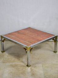 Red Travertine Italian Coffee Table With Chrome Frame - 1970and039s/80and039s 30andfrac14