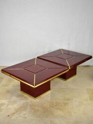 Pair Of Superb Burgundy Red Coffee Tables - Lacquer And Brass 31