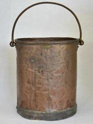 19th Century French Copper Bucket From A Winemaker - Tall 12andfrac12