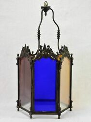 Large 19th Century French Lantern With Original Glass - Clear, Red, Blue, Yellow