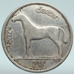 1928 Ireland Silver Horse And Lyre Harp Vintage Old Antique Irish 2s Coin I89364