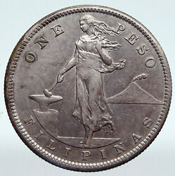 1907 S Philippines Under Us Administration W Eagle Old Silver Peso Coin I89368