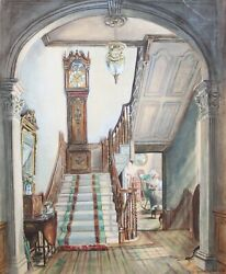 Mrs. Edward Lamson Henry-ny Realist-original Signed Wc-old Clock On The Stairs