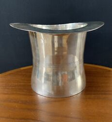 Vintage Godinger Heavy Silver Plated Top Hat Champagne Bucket Chiller With Tag