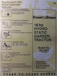 Mtd 990 Coast To Coast 16hp Hydrostatic Lawn Garden Tractor Owner And Parts Manual