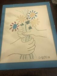 Pablo Picasso Flowers In The Hands Lithograph Printed 1960 Arches Paper France