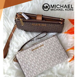 Michael Kors MK Jet Set Travel Double Zip Phone Wristlet Wallet $42.60