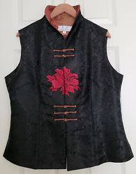 Ne Sheng Asian Vest Womenand039s Size Xl Embroidered Textured Black Loop Button Accen