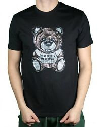 MOSCHINO black T shirt FOR men BEAR model COOL sequins ones THE BEST $37.00