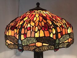 Large 17 Vtg Style Dragonfly Stained Glass Lamp Shade Jeweled Red Blue