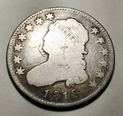 1818 Liberty Capped Bust Quarter Silver 25 Cent Coin Mg