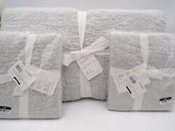 Pottery Barn Belgian Flax Floral Stitch King Quilt W/ 2 Shams Soft Gray 9757