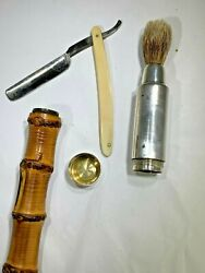Antique 1880and039s French Gustave Keller Bamboo And Silver Shaving Kit Walking Stick