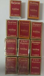 Vintage Schilling Spice Tins And Boxes With Product 4 Have Original Plastic.
