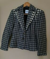 MOSCHINO CHEAP AND CHIC Grey with White and Black Check Blazer Jacket Size 6