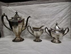 Reed And Barton - Silverplate Coffee / Tea Set - Sierra Art Deco 5 Pc Set