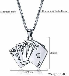 Rockyu Men's Necklace, Silver, Black, Red, Spade A, Playing Cards, Steel Chain