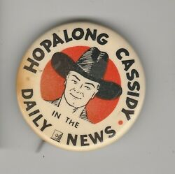 Vintage Hopalong Cassidy In The Daily News 2 Pin Pinback Button Vg+ 4.5