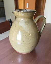 Vintage Vernon Owens Jugtown Ware Pottery Green Pitcher And Lid Signed Nc