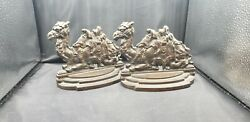Judd Manufacturing Co Camel Bookends 1920's Very Detailed Great Bronze Patina