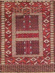 4and0392 X 5and0394 Antique Hand Made Fine Tekkeh Turkoman Engsi Hatchli 4 Seasons Rug