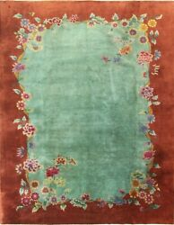 Antique Art Deco Chinese Oriental Rug Wonderful Green 8and0399 X 11and0392 17192