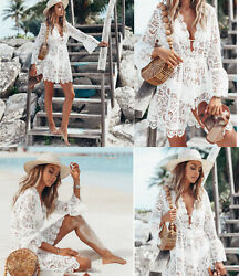 Women#x27;s Lace Bathing Suit Cover Up Boho Beach Maxi Bikini Sundress Dress Summer $16.99