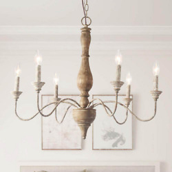 Lnc 6-light Rustic Farmhouse Chandelier 29.5 In. Antique White French Country