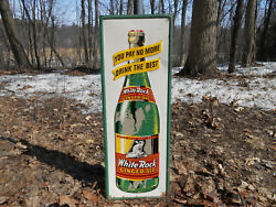 Scarce White Rock Ginger Ale Cola 36 X 13 Soda Bottle Tin Sign Topless Fairy